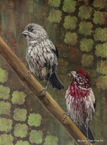 Day 10 - Purple Finches, Acrylic on 6 X 8 Cradle Board, $86.00