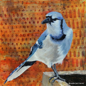 Day #3, Blue Jay, Acrylic on 6 X 6 Cradle board