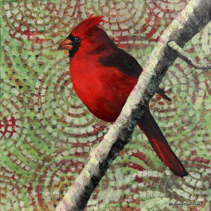 Male Cardinal, Day 6 Acrylic on 8 X 8 Cradle Board. $96.00