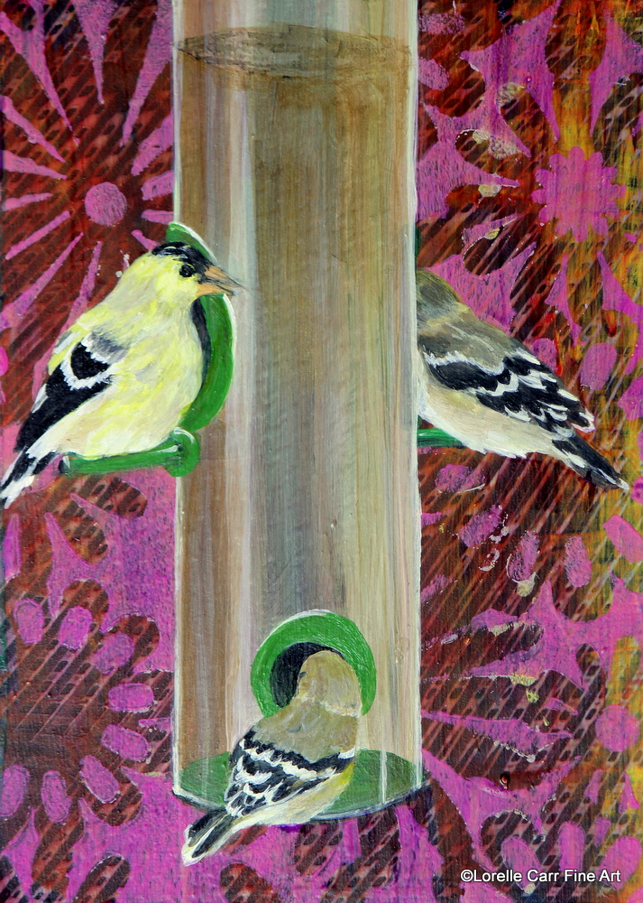 Day 7 - Goldfinches, Acrylic on a 5 X 7 Cradle Board, $68.00