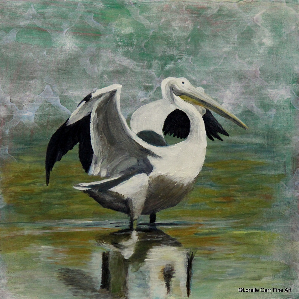 Day 8, White Pelican, acrylic on a 6 X 6 Cradle Board. $68.00