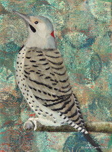 Day 25 - Northern Flicker, Acrylic on 6 X 8 Cradle Board, $86.00.