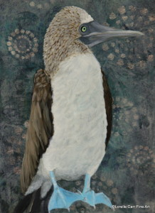 Day 26 Blue-footed Booby, Acrylic on 6 X 8 Cradle Board, $84.00