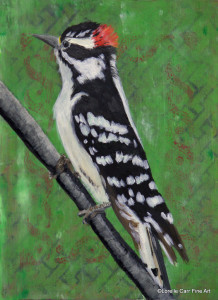 Day 34 - Downy Woodpecker, Acrylic on 6 X 8 Cradle Board, $92.00.