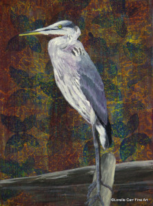 Day 37 - Great Blue Heron, Acrylic on 6 X 8 Cradle Board, $88.00.