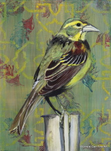 Day 39 - Male Dickcissel, Acrylic on 6 X 8 Cradle Board, $82.00.