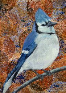 Day 41 - Blue Jay, Acrylic on 8 X 8 Cradle Board, $78.00.
