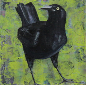 Day 43 - Great-Tailed Grackle, Acrylic 6 X 6 on Cradle Board, $68.00.