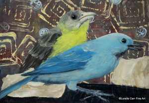 Day 44 - Tanagers, Acrylic on 6 X 8 Cradle Boards, $78.00.