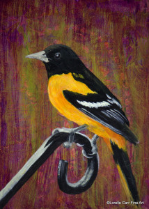 Day 48 - Baltimore Oriole, Acrylic on 5 X 7 Cradle Board, $78.00.
