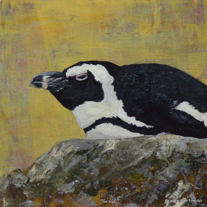 Day 49 - African Penguin, Acrylic on 6 X 6 Cradle Board, $68.00.