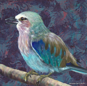 Day 5- Lilac Breasted Roller, Acrylic on 6 X 6 Cradle Board, $84.00