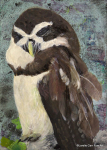 Day 51 - Spectacled Owl, Acrylic on 5 X 7 Cradle Board, $76.00.