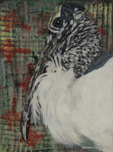 Day 52 - Wood Stork, Acrylic on a 6 X 8 Cradle Board, $86.00.