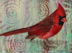 Day 55 - Male Cardinal, Acrylic on a 6 X 8, $92.00.