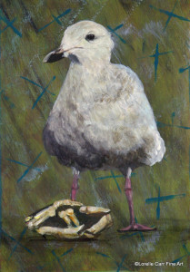 Day 56 - Black-Tailed Gull, Acrylic on 5 X 7 Cradle Board, $72.00.