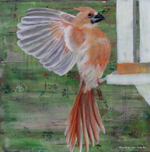 Day 58 - Lady Cardinal, Acrylic on 8 X 8 Cradle Board, $92.00.