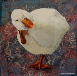Day 60 - American Pekin Duck, Acrylic on 6 X 6 Cradle Board, $ 86.00.
