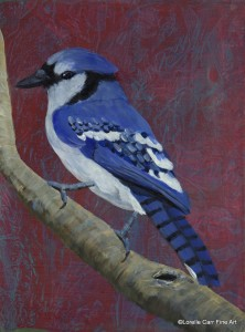 Day 61 - Blue Jay, Acrylic on 6 X 8 Cradle Board, $82.00.