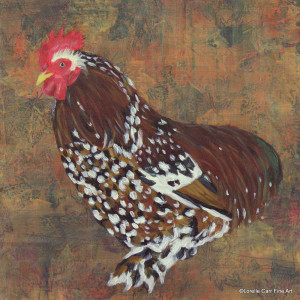 Day 63 - Belgian Rooster, Acrylic on 8 X 8 Cradle Board, $ 92.00.