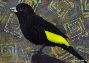 Day 63- Lemon-rumped Tanager, Acrylic on 5 X 7 Cradle Board, $78.00.