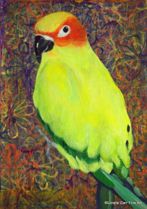 Day 67 - Parrot, Acrylic on a 5 X 7 Cradle Board, $72.00.