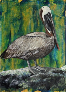 Day 69 - Brown Pelican, Acrylic on 5 X 7 Cradle Board, $68.00.