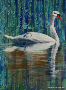 Day 71 - Swan, Acrylic on 6 X 8 Cradle Board, $84.00.