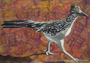 Day 72 - Road Runner, Acrylic on 5 X 7 Cradle Board, $76.00.