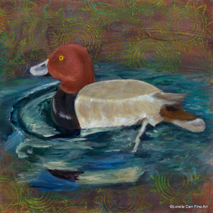 Day 75 - Red Headed Duck, Acrylic on 6 X 6 Cradle Board, $76.00.
