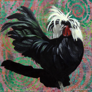 Day 76 - Polish Crested Chicken, Acrylic on 8 X 8 Cradle Board, $86.00.