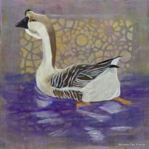 Day 77 - African Goose, Acrylic on 8 X 8 Cradle Board, $92.00.