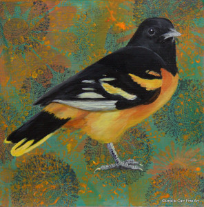 Day 78 - Baltimore Oriole, Acrylic on 6 x 6 Cradle Board, $74.00.