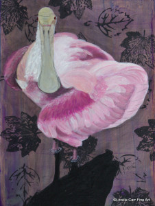 Day 79 - Roseate Spoonbill, Acrylic on 6 X 8 Cradle Board, $82.00.