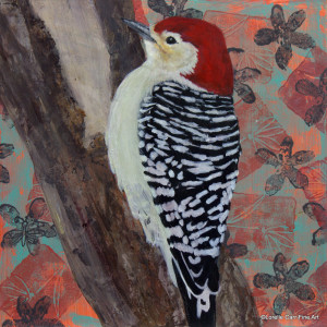 Day 82 - Red-Bellied Woodpecker, Acrylic on 8 X 8 Cradle Board, $88.00.