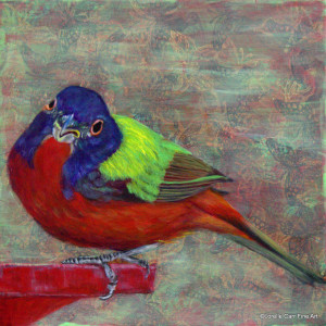 Day 88 - Painted Bunting, Acrylic on 8 X 8 Cradle Board, $88.00.