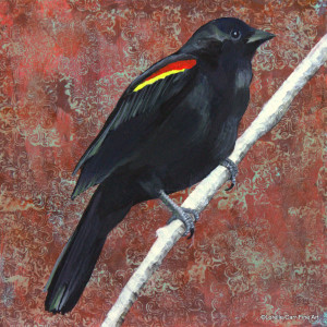 Day 90 - Red-Winged Black Bird, Acrylic on 8 X 8 Cradle Board, $90.00.